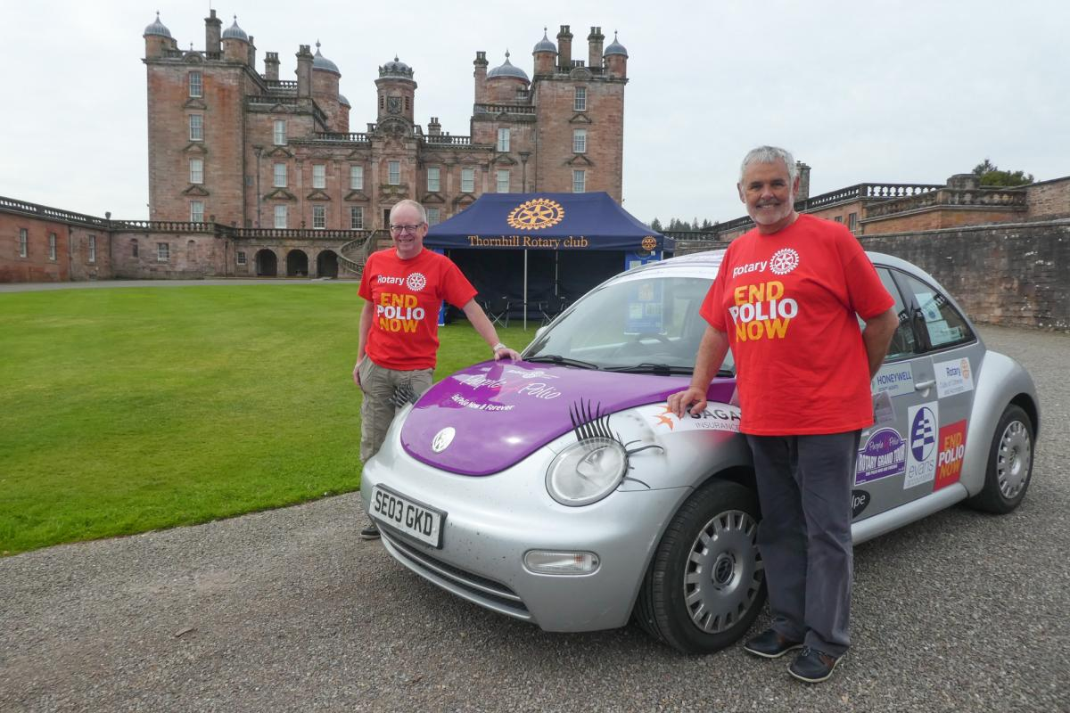 Rotary Purple4Polio Motor Tour of Britain. - RCAccrington& Clitheroe - Malcolm Baldwin & Bill Honeywell -  'Ribble Valley Riders' - VW Beetle (with eyelashes) en route to Glasgow