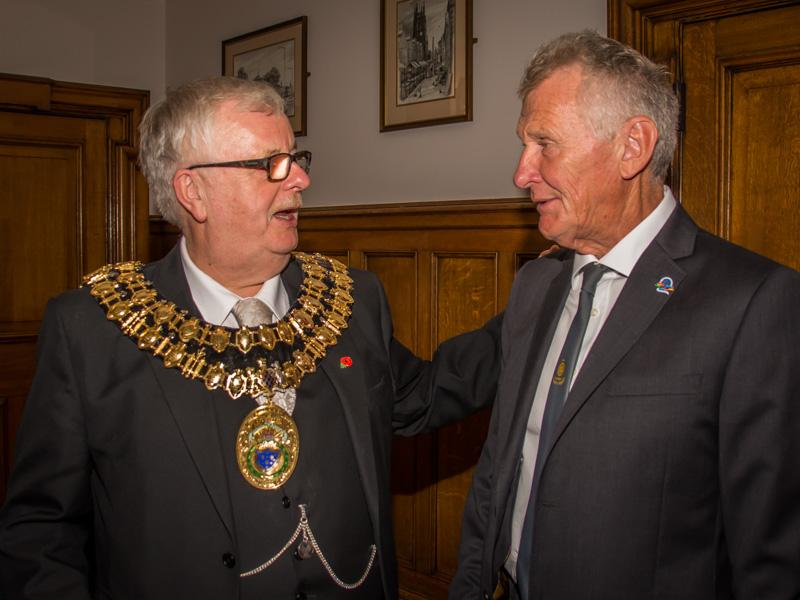 Tea with the Mayor and Mayoress of Stockport - Richard talking with the Mayor,