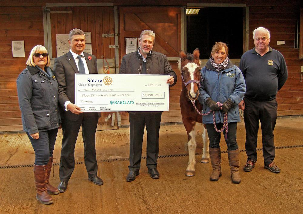 Magpie Riding for the Disabled Centre at Wallington Hall,on 8th November 2016 from the left:  Rotarian and R.D.A. Volunteer - Janis Bell, President Michael Pellizzaro, Rotarian Steve Roberts Natalie Dade Manageress R.D. & Rotarian Geoff Cheney