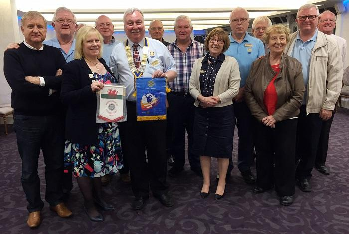 Interaction/co-operation With Other Clubs, District and RIBI - On 3rd May 2017 RIBI President,  Eve Conway, visited the Club with DG Steve Jenkins. The club was just finishing their Council Meeting when the visitors arrived.