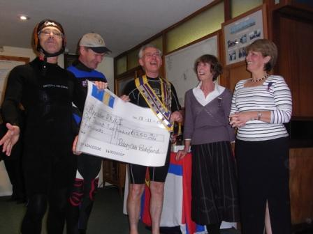 Rotary Gate Crash Appledore RNLI with £1250 -  Bideford Rotary Club water festival team take a cheque to North Devon Yacht Club, Instow Nov 2008