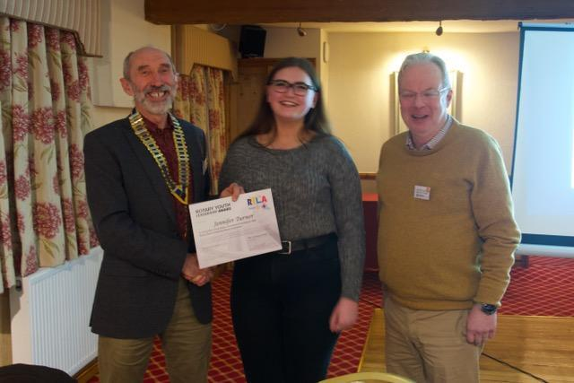 Jennifer Turner with President Hywel and Youth Services Chairman Dewi Roberts