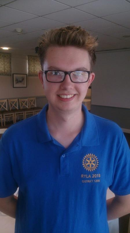 Rotary Young Leaders Award (RYLA) - Bradley Flinders, aspiring for leadership and supported by The Rotary Club of Taunton to participate in the challenging programme: Rotary Youth Leaders Award