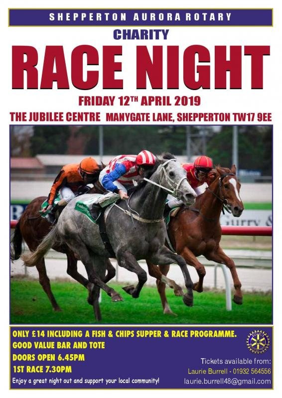 Aurora presents their Annual Charity Race Night  - come along for some an evening of fun and fellowship