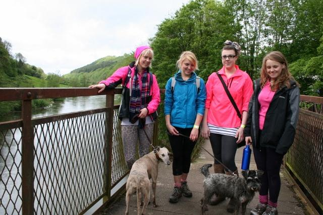 Walkers on Redbrook Bridge raising money for Breast Cancer Research organised by Monmouth Rotary Club