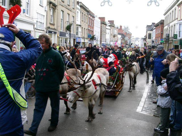 Reindeer and sledge in procession