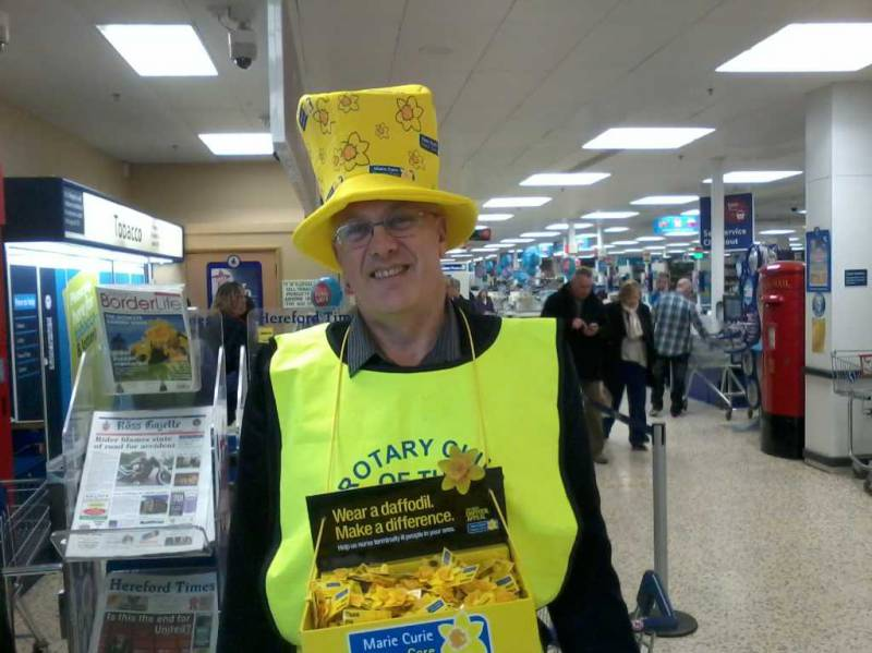 Picture shows one of our members, Richard Prime, helping with the collection.