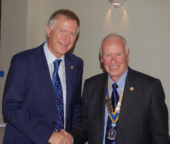 Rob Newsome OBE being presented with his Sapphire PHF by President Tony Newsome