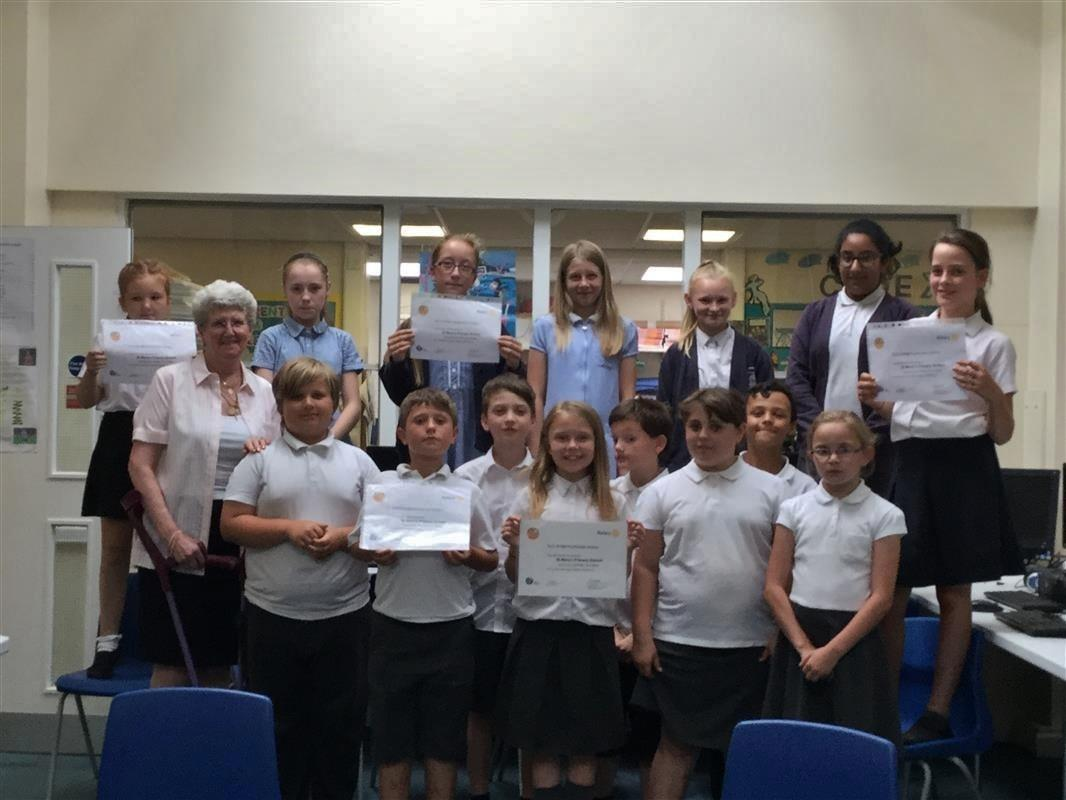 Rotakids celebrate - St Mary's Rotakids with citation