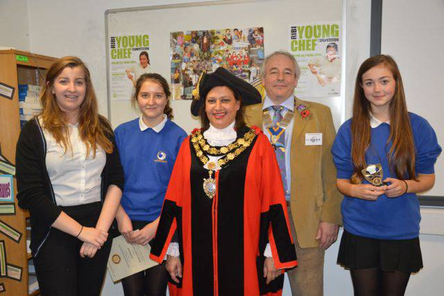 Rotary Young Chef competition 22 October 2013 - Winner and runner-up with president Les Rushbury and Mayor Cllr. Mina Bond
