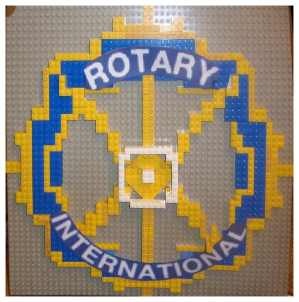 Shoe boxes and Lego to Preston Warehouse - Rotary Logo made out of Lego