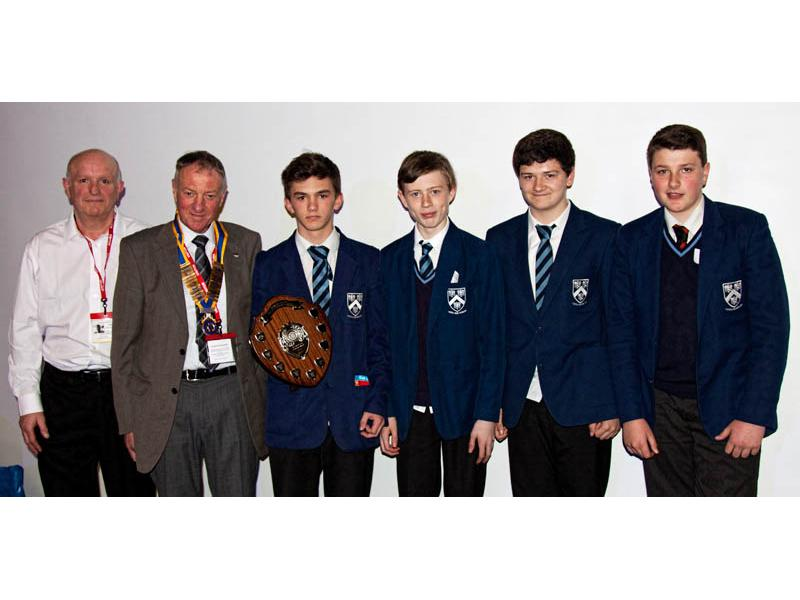 Rotary Technology Tournament 2015 - President Geoff Bigg presents the trophy to the class winners