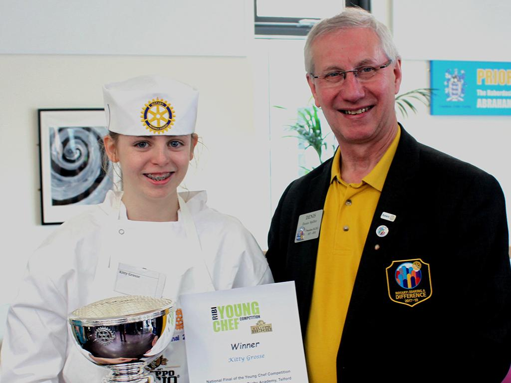 Young Chef 2018 - Our National Finals Winner - Kitty Grosse receives her prize from RIBI President Dennis Spiller