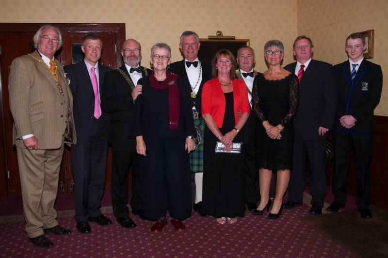 President Tom Taylor with his partner Sian welcome the guest speakers and their partners.