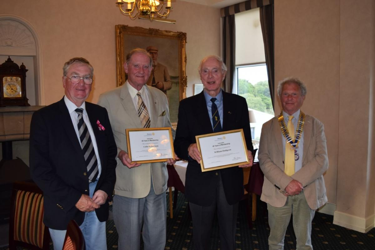 Past President Iain Lockart, Colin Robertson, Bill Dudgeon and President Iain Sim.