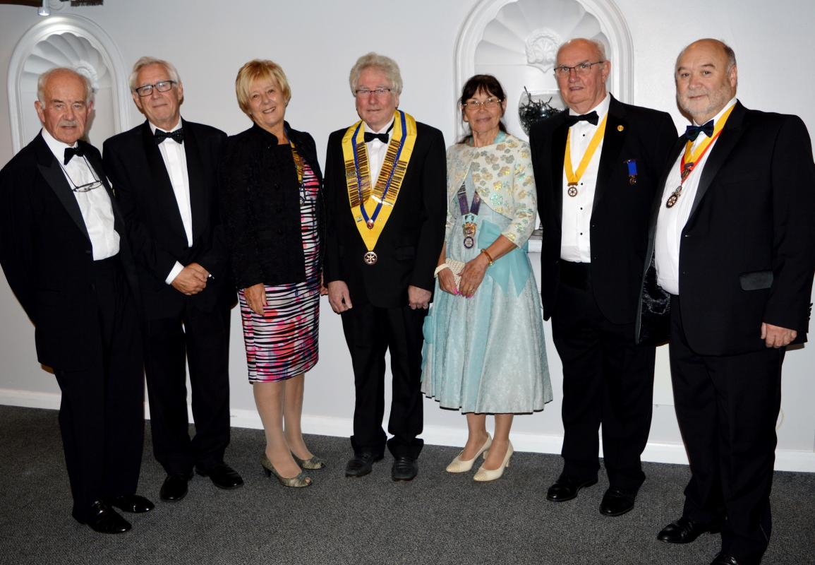 Rotary President Rev. Adrian Dempster with speakers and guests.