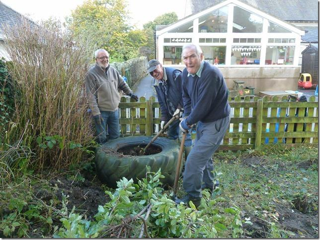 Bassenthwaite School Playground Restoration - Bassethwaite Rotary at work