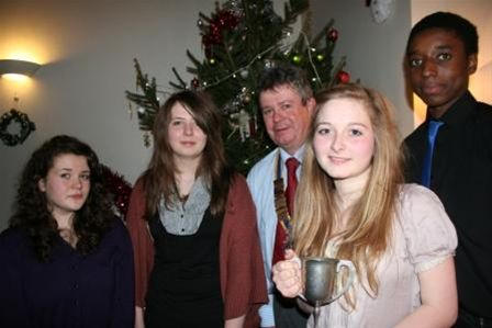 The four Contestants Caitlin Mcllwraith, Rebecca Addis,Keiana Eden-Cox and Luke Campbell with our President Brian