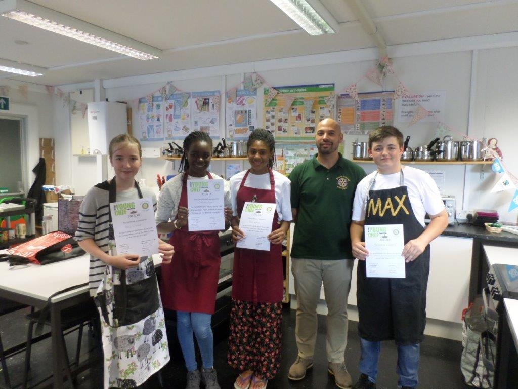 Rotary Young Chef of the Year Competition - Contestants: Daisy, Channice, Reese Owain (organiser) and Max