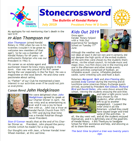 The newsletter of the Rotary Club of Kendal