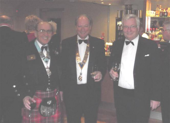 64th Charter Night - President Stephen Knight pictured with his guest speaker, His Honour Judge Robert Warnock and District Governor John McDowall PHF
