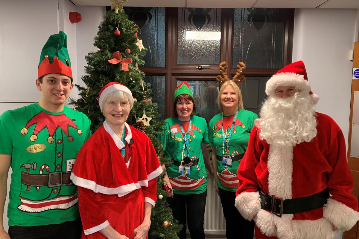 Santa and his helpers at Sheffield Children's Hospital
