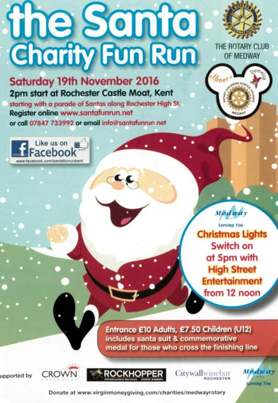 Come and join us on Medway's biggest Santa Fun Run or just sponsor a Santa!