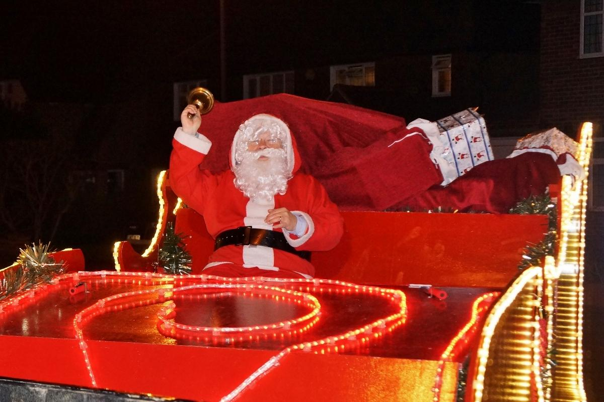 Santa in his sleigh ready to entertain the children (and adults) in Pinner