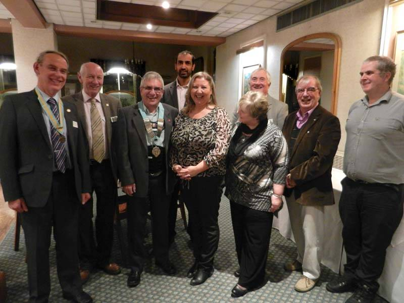 Bicester Satellite Club members with President Tim and the 'Big Cheeses' from District 1090