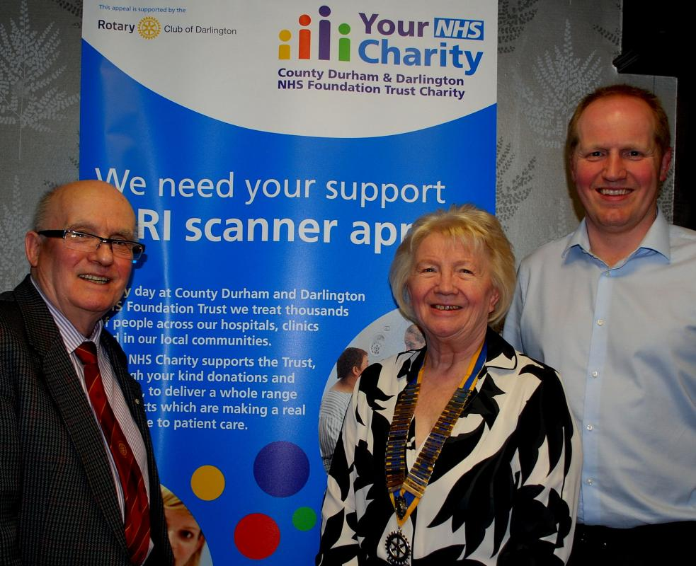 Rtn Syd Howarth (pictured left with Newton Aycliffe Rotary Club President Nora Scott and Robert Goddard) who is heading the Rotary appeal for the scanners in and around Aycliffe,