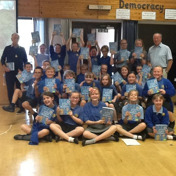 Spennithorne pupils with dictionaries. Also George Chadwick and David Milner