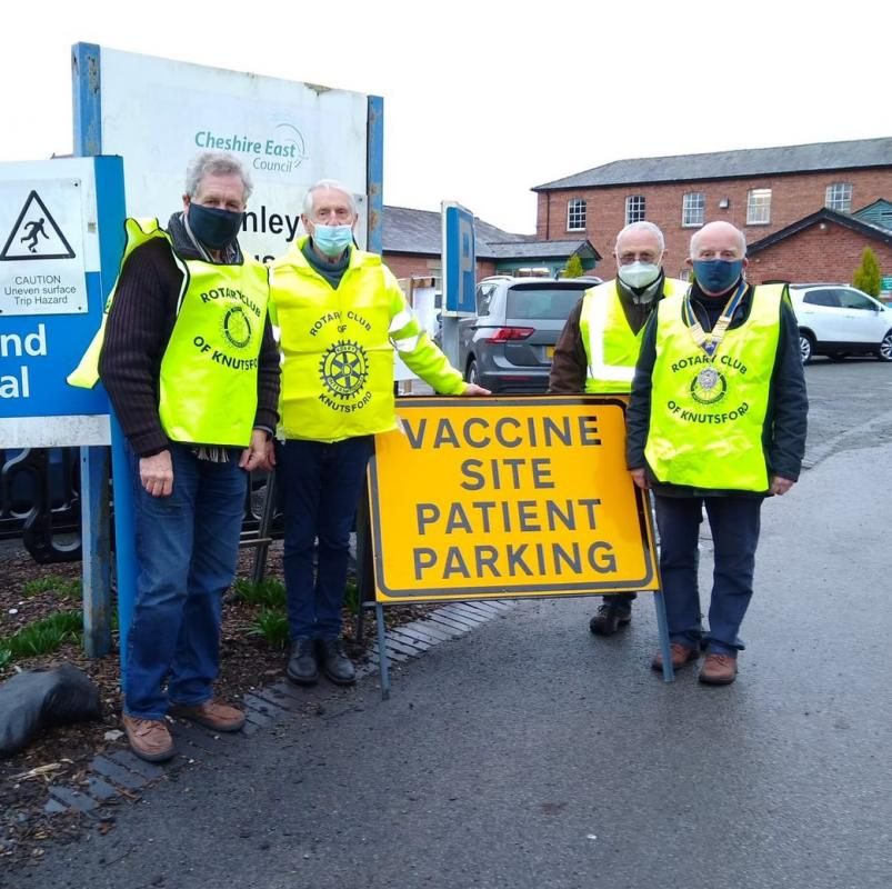 Knutsford Rotarians at the hospital site.