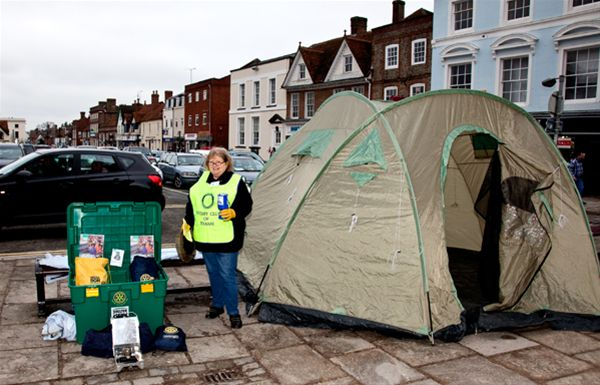 Haiti Earthquake Appeal - Rotary ShelterBox Collection at the Thame Town Hall with Jeannette Matelot Green, town's popular Mayor and also Rotary Club member, helping with the collection.