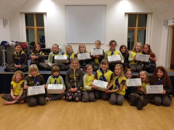 1st Heptonstall Brownies with their collected shoeboxes.