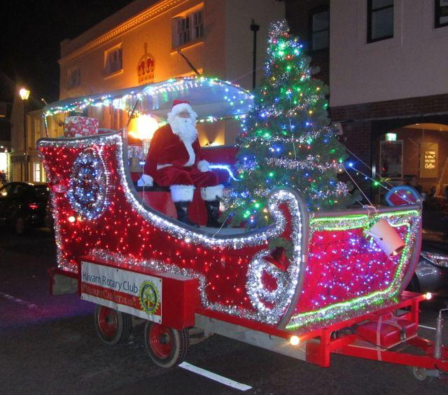 Christmas Lights switch-on in Emsworth - Santa arriving in his sleigh