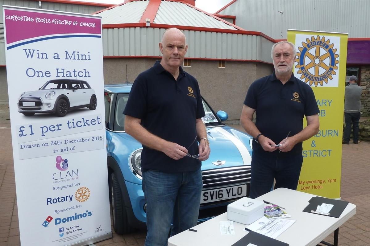 4. Community & Vocational - Scott & Peter selling tickets at Thainstone for the 2016 CLAN Mini raffle