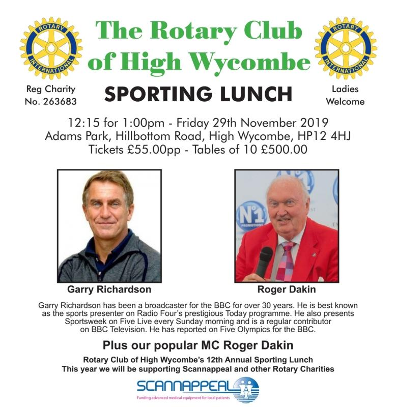 Wycombe Rotary Sporting Lunch 2019 with Gary Richardson and Roger Dakin