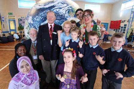 Pictured are St Mary's pupils, students from Chile, Australia, Malaysia and Grenada with President of the Rotary Club of Crewe Derek Poppleton and organiser Tom Protheroe