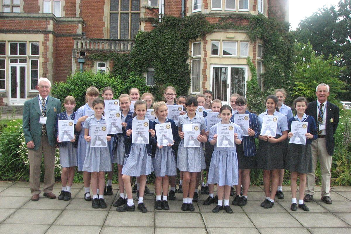 Fleet Rotary present pupils from St Nicholas School with their Certificates