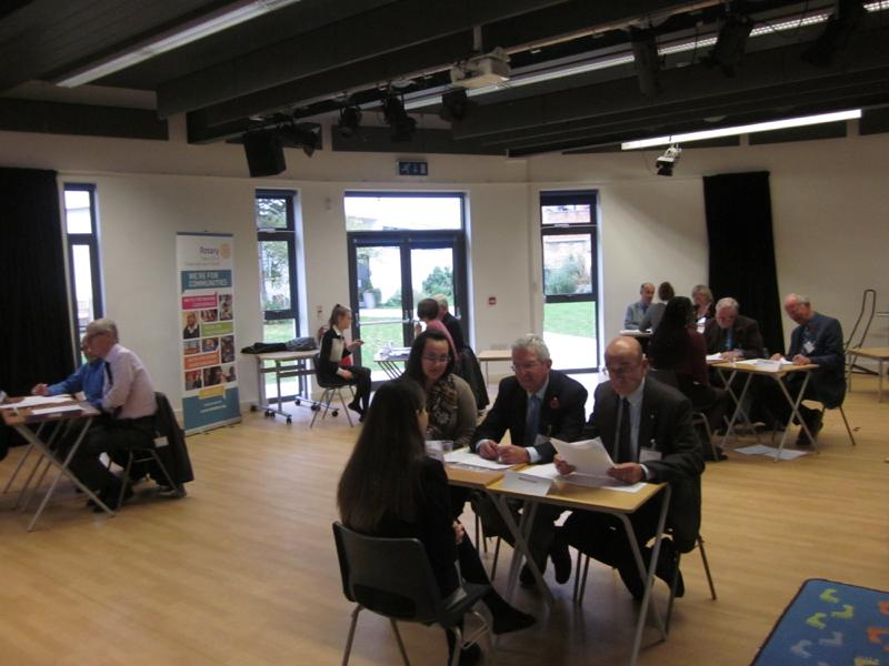 Mock interviews at St Catherine's School - November 2015 - The interviews underway at separate tables in the main school hall