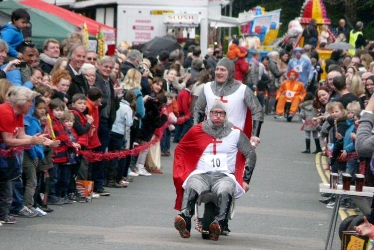 The traditional wheelbarrow race attracted the crowds and the quirky costumes!