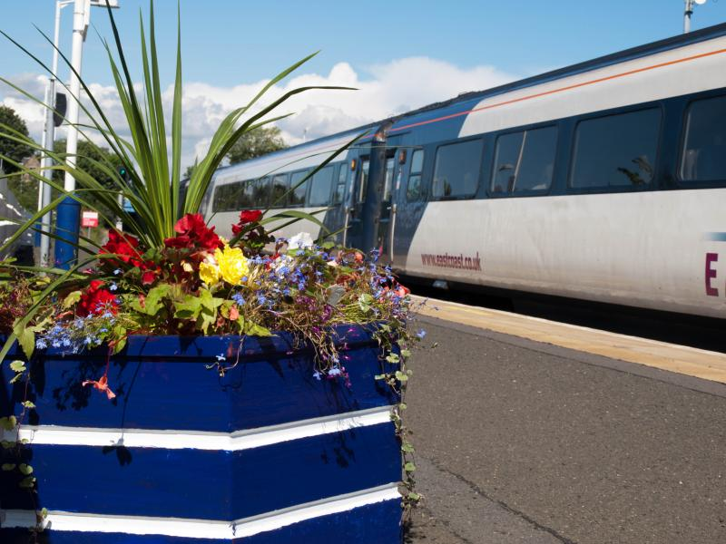 Flowers on the northbound platform at Kirkcaldy Railway Station