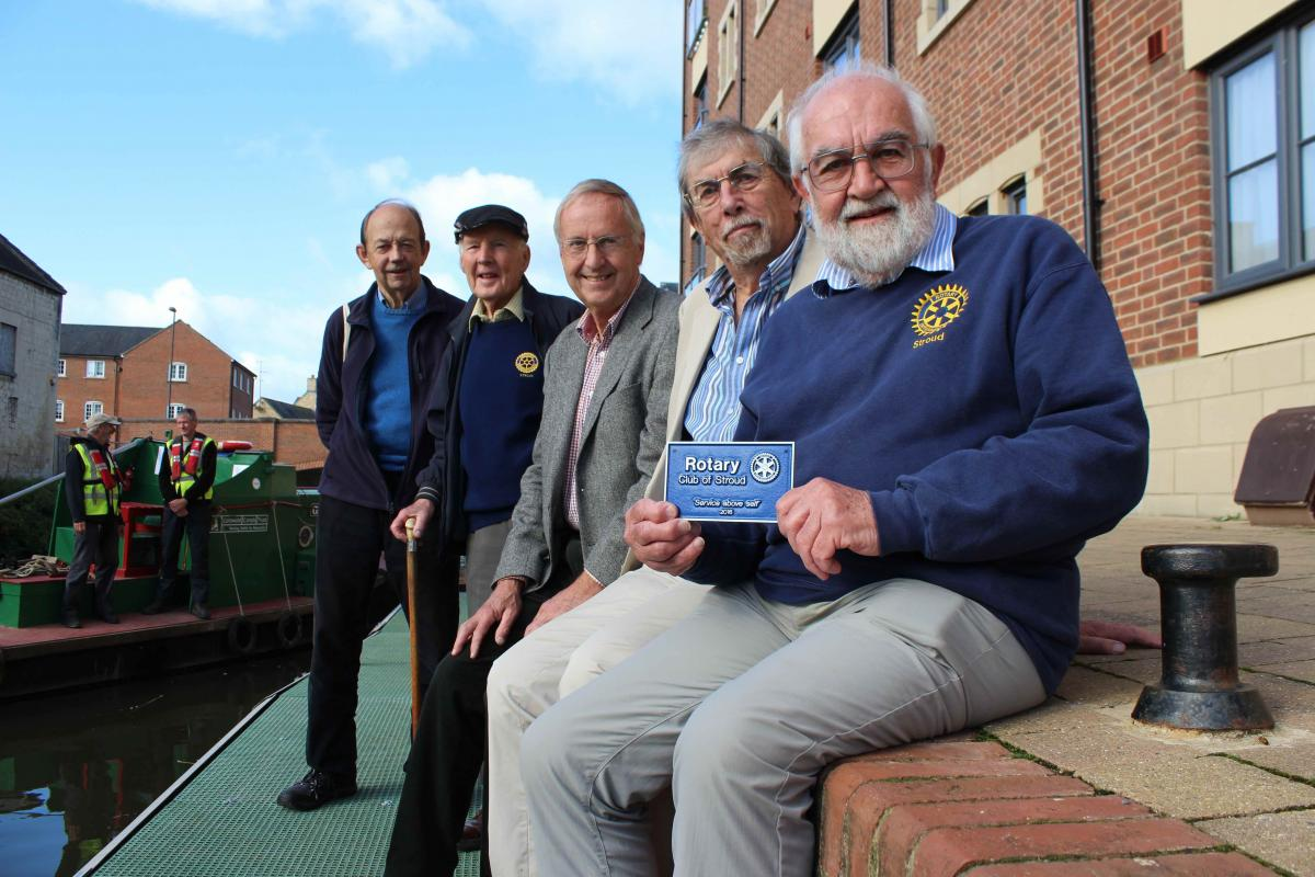 Some of our Charitable Donations - Stroud Rotary Members presenting a plaque to John Newton from Cotwold Canal Trust - 3 Oct 2017