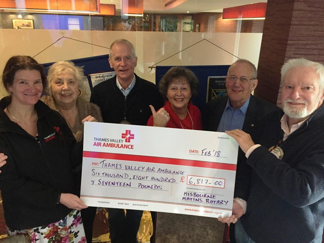 Cheque to Thames Valley Air Ambulance -