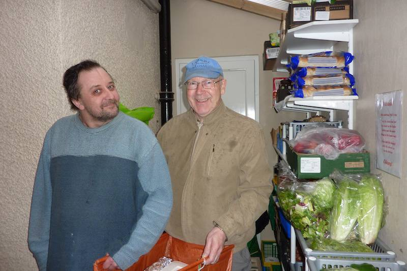 Terry Glossop handing over the Eynsham donations to Jayson Marc-Frater at Gatehouse