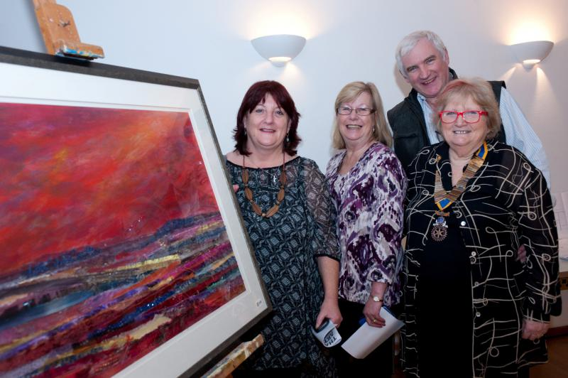 Thame Rotary Art Show 2013 - Photo by Nick White. Jeannette Matelot Green with representatives from Rotary Charities.