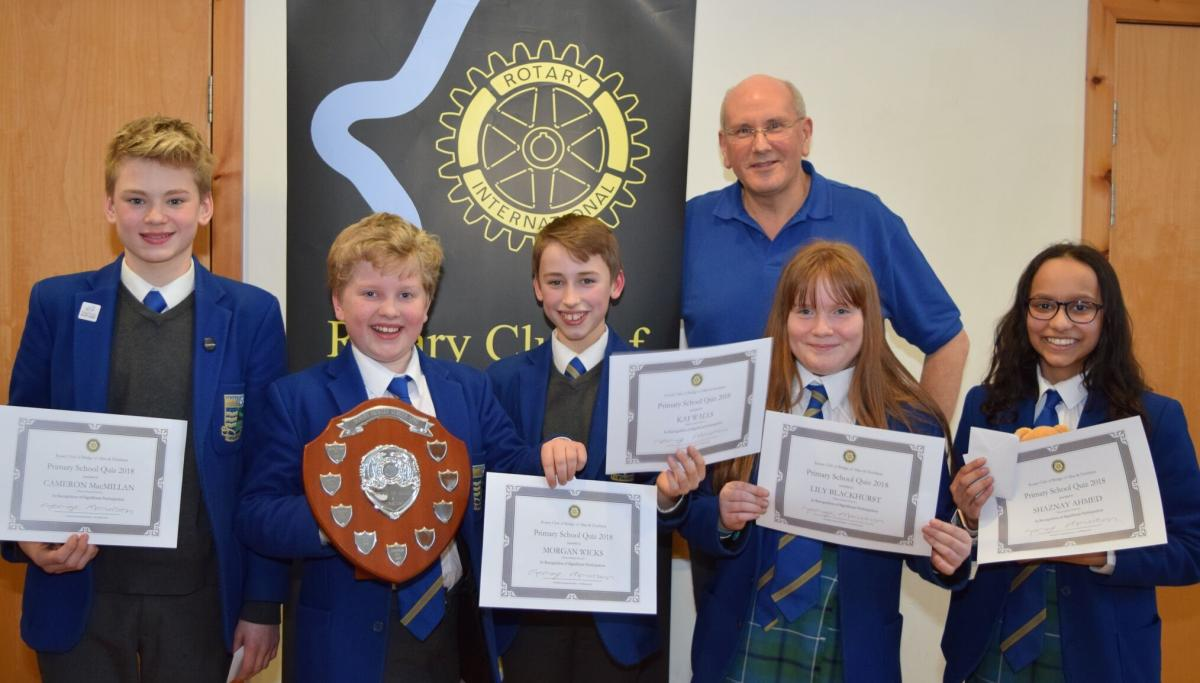 Primary School Quiz - Friday 9 March 16.00 @ BoA Church Hall - Winners Beaconhurst with Lawrie Orr the quiz organiser
