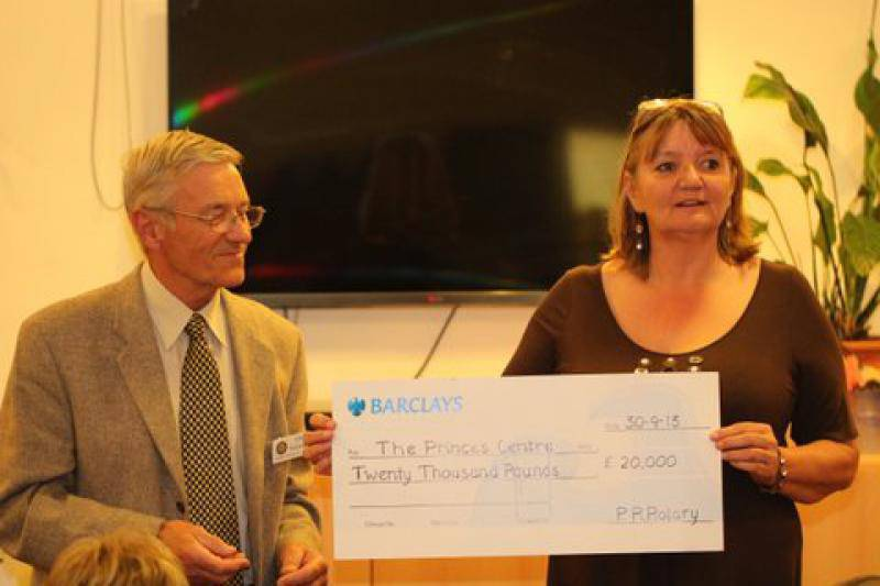 Tom Winkworth presenting a cheque for £20,000 to the Princes Centre on behalf of the Rotary Club of Princes Risborough