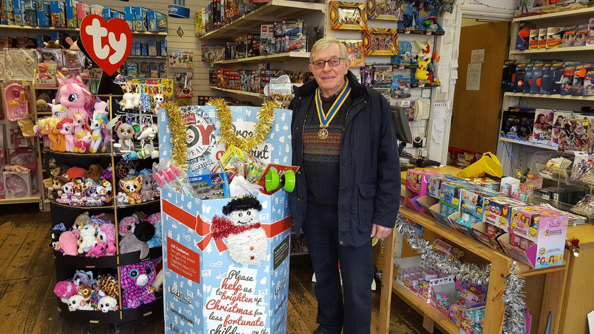 Club President Steve Knight with the donated toys