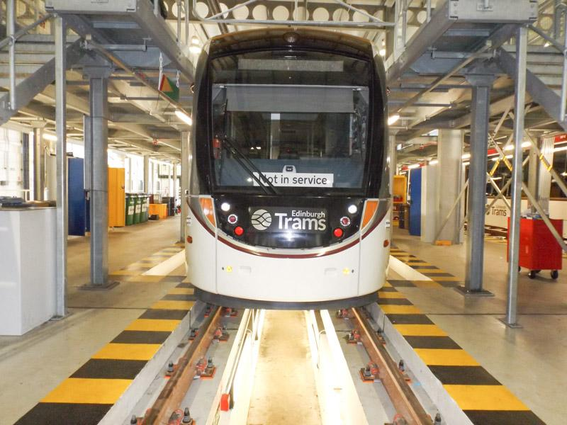 Visit to Edinburgh Tram Depot - Tram in Workshop